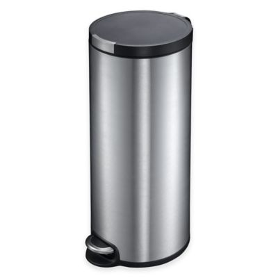 EKO Artistic Stainless Steel Round 30-Liter Soft-Close Step Wastebasket