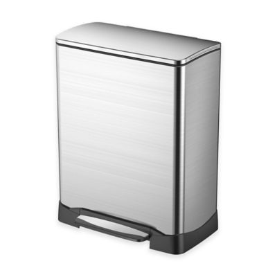 EKO Neo-Cube Stainless Steel Rectangular 50-Liter Soft-Close Step Trash Can