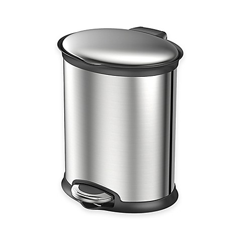 Eko Stainless Steel Oval 5 Liter Soft Close Step Trash Can