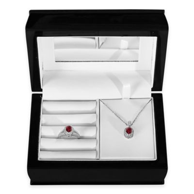 Sterling Silver Garnet and Created White Sapphire Halo Pendant, Size 7 Ring and Jewelry Box Set