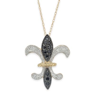 10K Black White Diamond Pendant