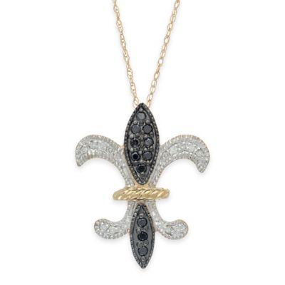10K Yellow Gold .24 cttw Black and White Diamond 18-Inch Chain Fleur de Lis Pendant Necklace