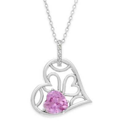 Sterling Silver .03 Diamond and Created Pink Sapphire 18-Inch Chain Open Heart Pendant Necklace