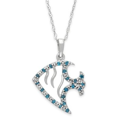10K White Gold .21 cttw Blue and White Diamond 18-Inch Chain Fish Pendant Necklace