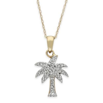 10K Yellow Gold .14 cttw Diamond 18-Inch Chain Palm Tree Pendant Necklace