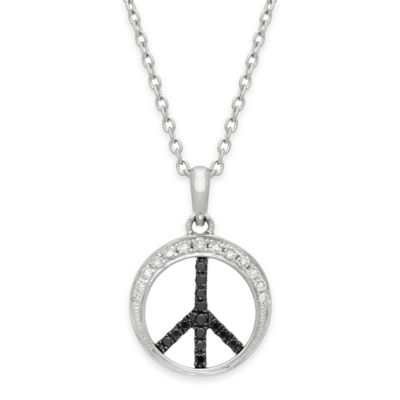 Sterling Silver .20 cttw White and Black Diamond 18-Inch Chain Peace Sign Pendent Necklace