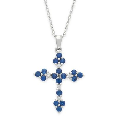 14K White Gold .05 cttw Diamond and Sapphire 18-Inch Cross Pendant Necklace