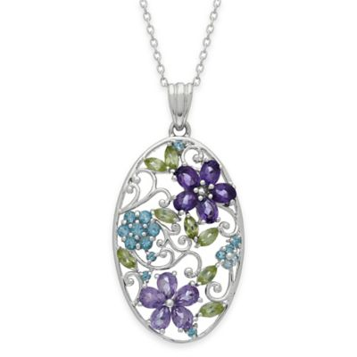 Sterling Silver Blue Topaz, Peridot, Amethyst and Rose de France Oval Flower Pendant Necklace