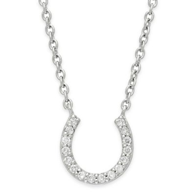 Sterling Silver .20 cttw Diamond 18-Inch Horseshoe Pendant Necklace