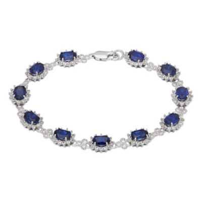 Sterling Silver Cubic Zirconia and Created Oval Sapphire 7-1/2 Inch Princess Halo Bracelet