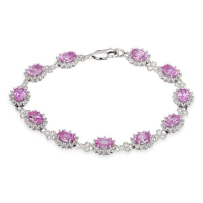 Sterling Silver Cubic Zirconia and Created Oval Pink Sapphire 7-1/2 Inch Princess Halo Bracelet