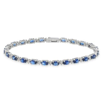 Sterling Silver .005 cttw Diamond and Created Oval Sapphire 7-1/2 Inch Line Bracelet