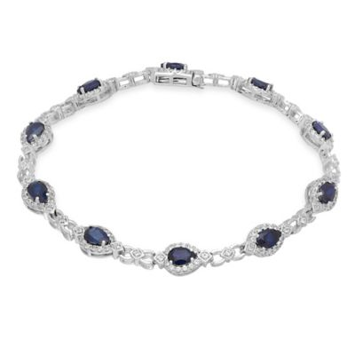 Sterling Silver Cubic Zirconia and Created Pear Shape Sapphire 7-Inch Halo Tennis Bracelet