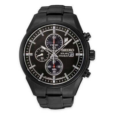 Seiko Men's Solar Chronograph Watch in Black Ion-Plated Titanium