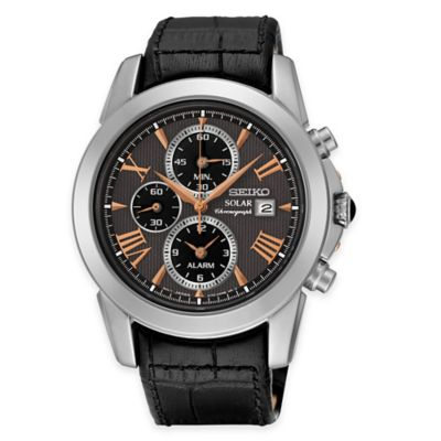 Seiko Men's Le Grand Sport Solar Alarm Chronograph in Stainless Steel with Black Leather Strap
