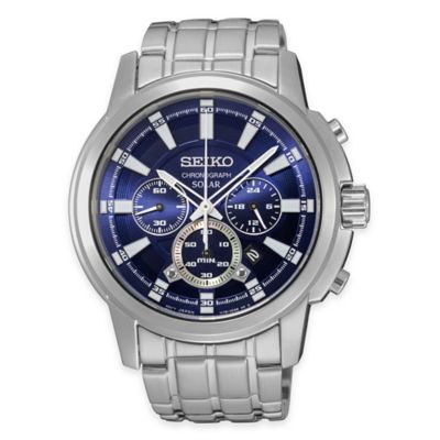 Seiko Men's Solar Chronograph Watch with Blue Dial in Stainless Steel