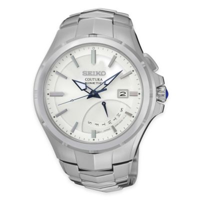 Seiko Men's Coutura Kinetic Retrograde Watch with White Dial in Stainless Steel