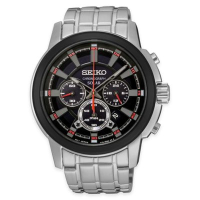 Seiko Men's Solar Chronograph Watch with Black Dial in Stainless Steel