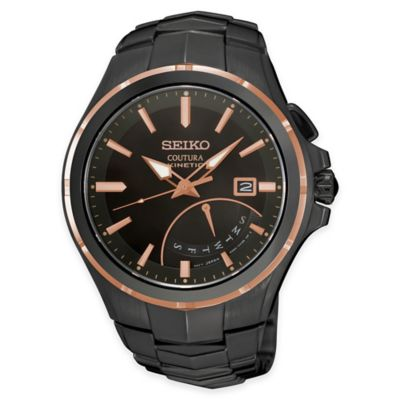Seiko Men's Coutura Kinetic Retrograde Watch in Black Ion-Plated Stainless Steel