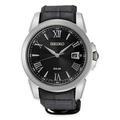 Stainless Steel with Black Leather Strap