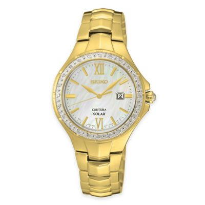 Seiko Ladies' Coutura Solar Diamond Watch with Mother of Pearl Dial in Goldtone Stainless Steel