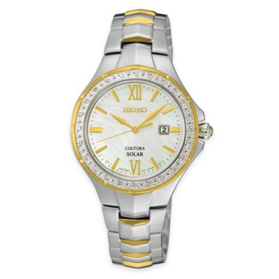 Seiko Ladies' Coutura Solar Diamond Watch with Mother of Pearl Dial in Two-Tone Stainless Steel
