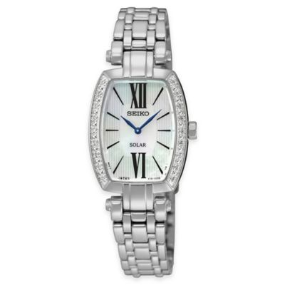 Seiko Ladies' Tressa Solar Diamond Watch in Stainless Steel with Mother of Pearl Dial