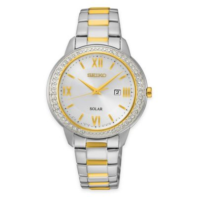 Seiko Ladies' Recraft Series Swarovski® Crystal Solar Watch in Two-Tone Stainless Steel