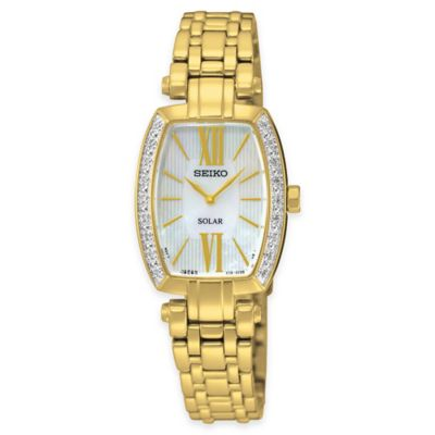 Seiko Ladies' 35mm Tressia Solar Diamond-Accented Bezel Watch in Goldtone Stainless Steel