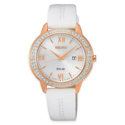 Seiko Ladies' Recraft Series Mother of Pearl Dial Watch with Swarovski Elements and Leather Strap