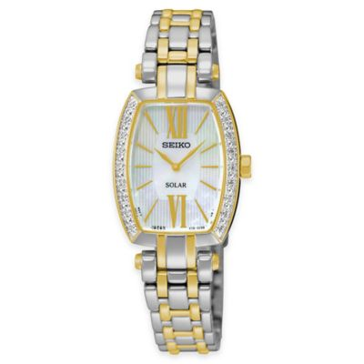 Seiko Tressia Solar Ladies Diamond Watch in Two-Tone Stainless Steel with Mother of Pearl Dial