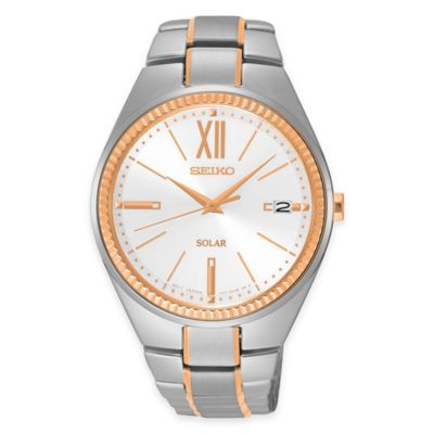 Seiko Ladies' Recraft Solar Watch in Two-Tone Stainless Steel