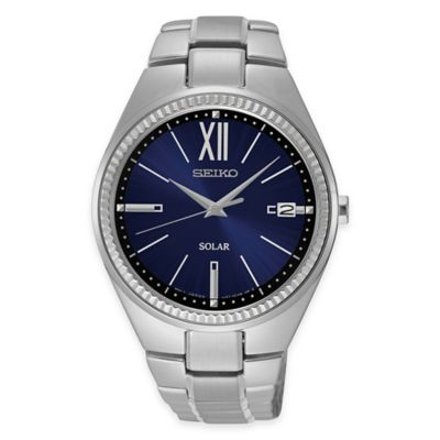 Seiko Ladies' Recraft Series Solar Watch with Blue Dial in Stainless Steel