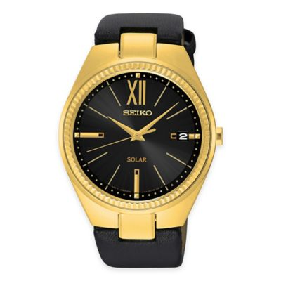 Seiko Ladies' Recraft Series Solar Watch in Goldtone Stainless Steel with Black Leather Strap
