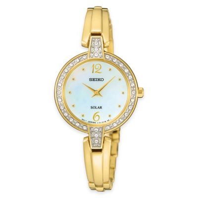 Seiko Solar Ladies' Swarovski® Crystal Watch in Goldtone Stainless Steel with Bangle