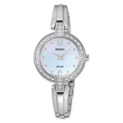 Seiko Tressia Ladies' 27mm Swarovski-Accented Mother of Pearl Dial Watch in Stainless Steel