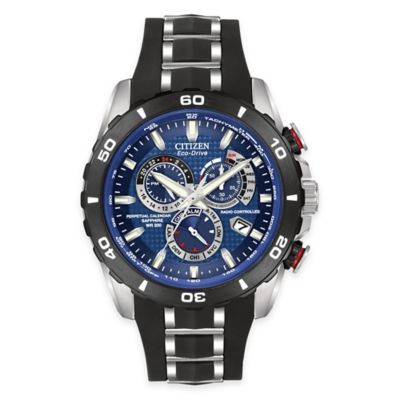 Citizen Eco-Drive Men's Perpetual Chronograph A-T Watch in Stainless Steel with Blue Dial