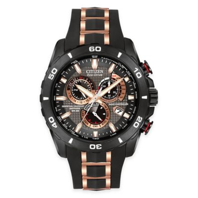 Citizen Eco-Drive Men's Perpetual Chronograph A-T Watch in Black Ion-Plated Stainless Steel