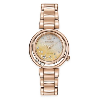 Citizen Eco-Drive Ladies' 30mm L Sunrise Diamond Watch in Rose Goldtone Stainless Steel