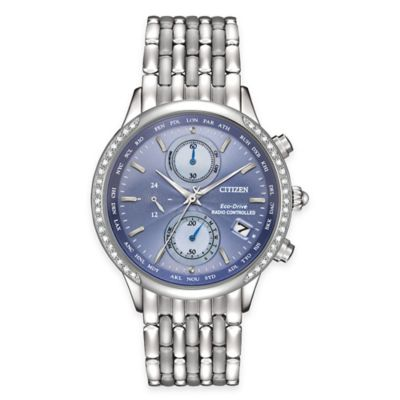 Citizen Eco-Drive Ladies' 38mm A-T Watch in Stainless Steel with Blue Dial and Diamond Bezel