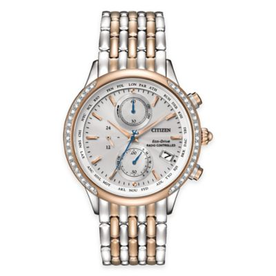 Citizen Eco-Drive Ladies' World Chronograph A-T Watch in Two-Tone Stainless Steel with Diamond Bezel