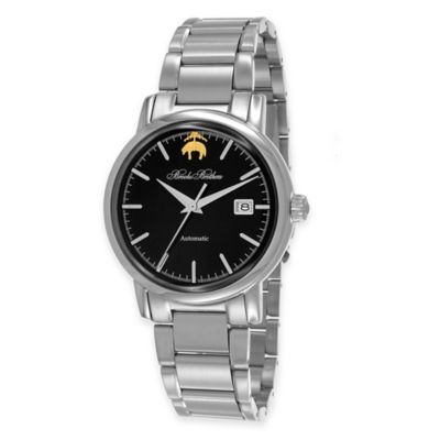 Brooks Brothers Men's Round Watch with Black Dial in Stainless Steel