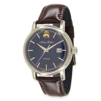 Brooks Brothers Men's Watch in Stainless Steel with Brown Leather Strap