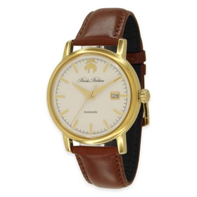 Brooks Brother Men's Round Watch in Goldstone Stainless Steel with Brown Strap