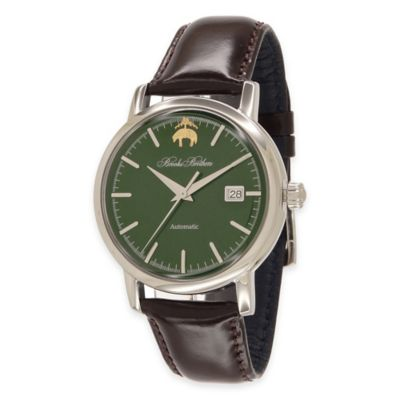 Brooks Brothers Men's Watch with Green Dial in Stainless Steel with Brown Leather Strap