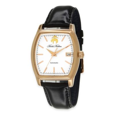 Brooks Brothers Men's Rectangular Watch in Rose Goldtone Stainless Steel with Black Strap