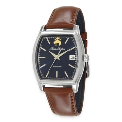 Brooks Brothers Men's Rectangular Watch in Stainless Steel with Brown Leather Strap