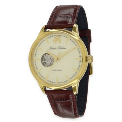 Brooks Brothers Men's Core Open Heart Watch in Goldtone Stainless Steel with Brown Leather Strap
