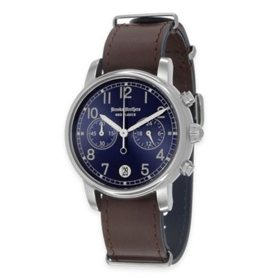 Brooks Brothers Red Fleece Men's Large Watch in Stainless Steel with Blue Dial and Leather Strap
