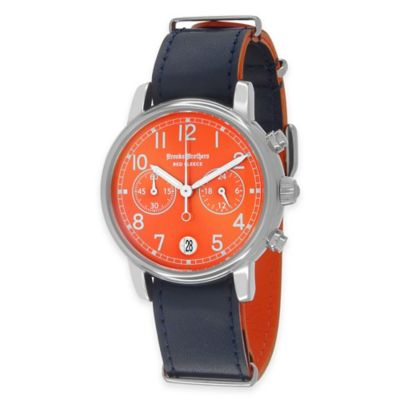 Brooks Brothers Red Fleece Men's Large Watch in Stainless Steel with Orange Dial and Leather Strap